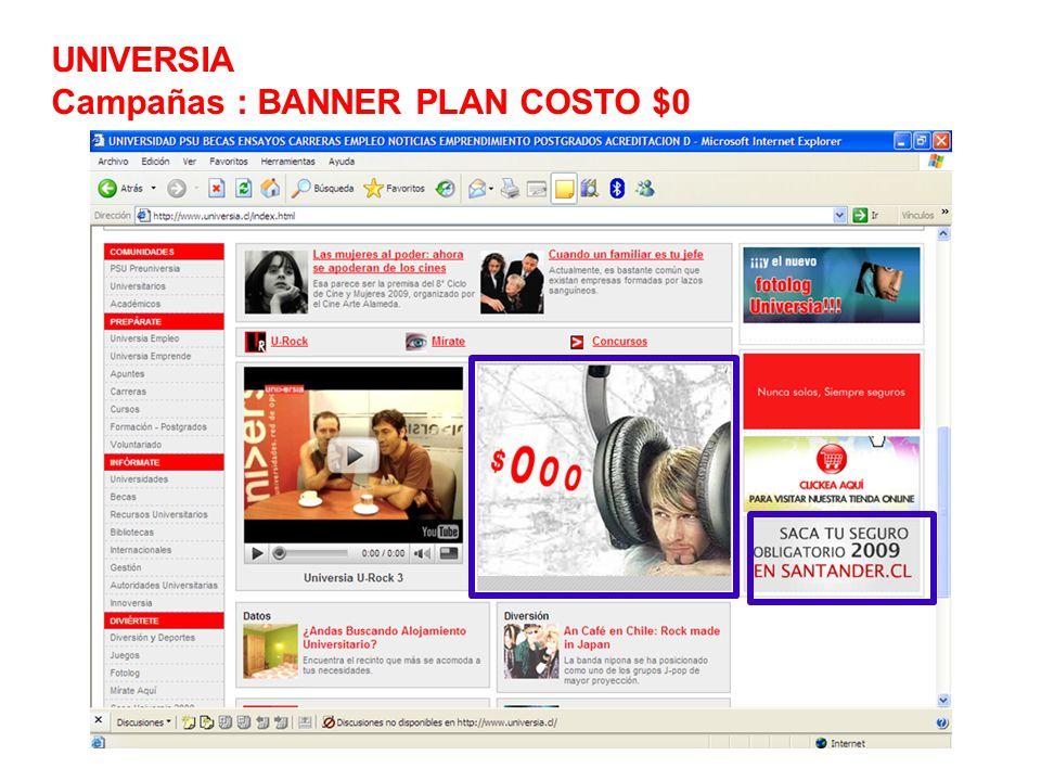 UNIVERSIA Campañas : BANNER PLAN COSTO $0