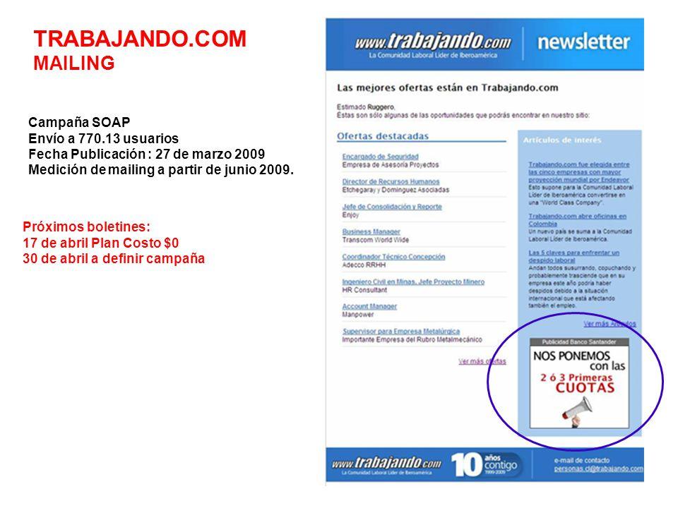 TRABAJANDO.COM MAILING Campaña SOAP Envío a 770.13 usuarios Fecha Publicación : 27 de marzo 2009 Medición de mailing a partir de junio 2009.