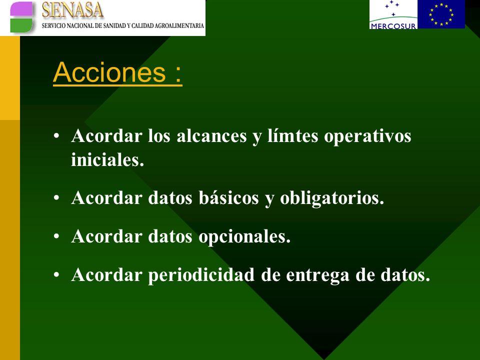 Acciones : Acordar los alcances y límtes operativos iniciales.