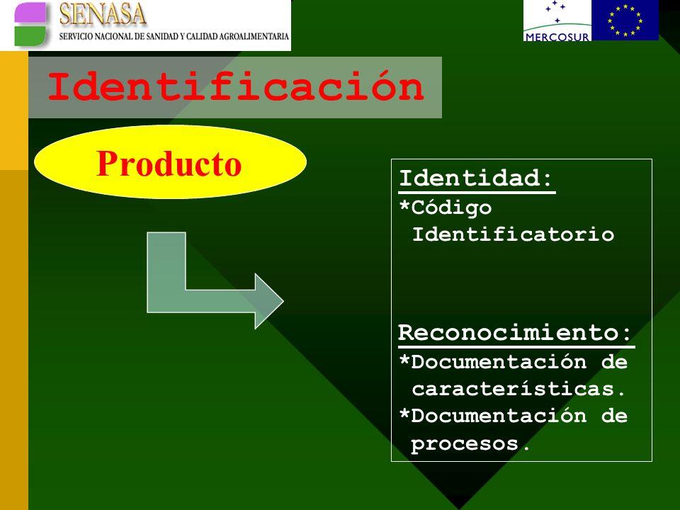 Identificación Producto Identidad: *Código Identificatorio Reconocimiento: *Documentación de características.