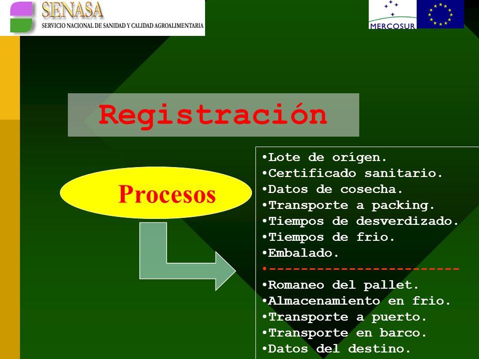 Registración Procesos Lote de orígen. Certificado sanitario.