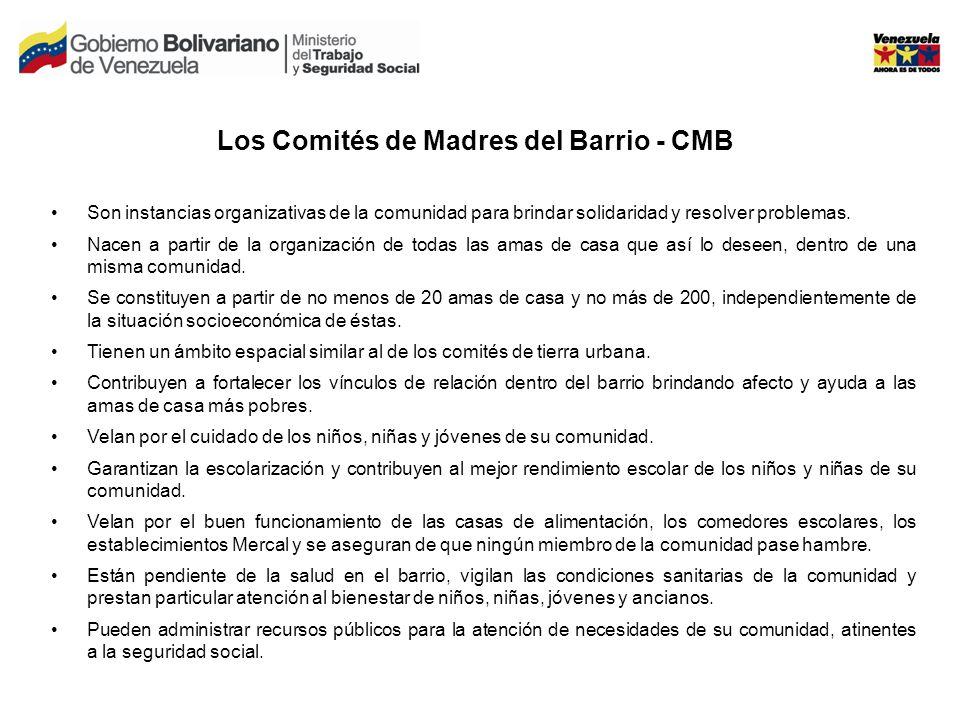 Los Comités de Madres del Barrio - CMB Son instancias organizativas de la comunidad para brindar solidaridad y resolver problemas.
