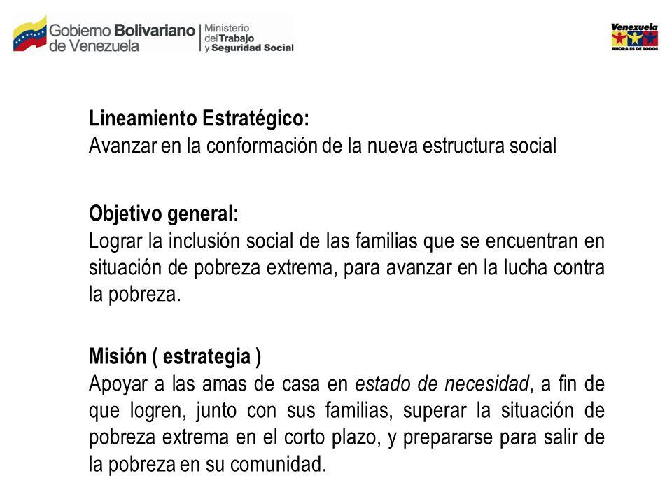 Objetivo general: Lograr la inclusión social de las familias que se encuentran en situación de pobreza extrema, para avanzar en la lucha contra la pobreza.
