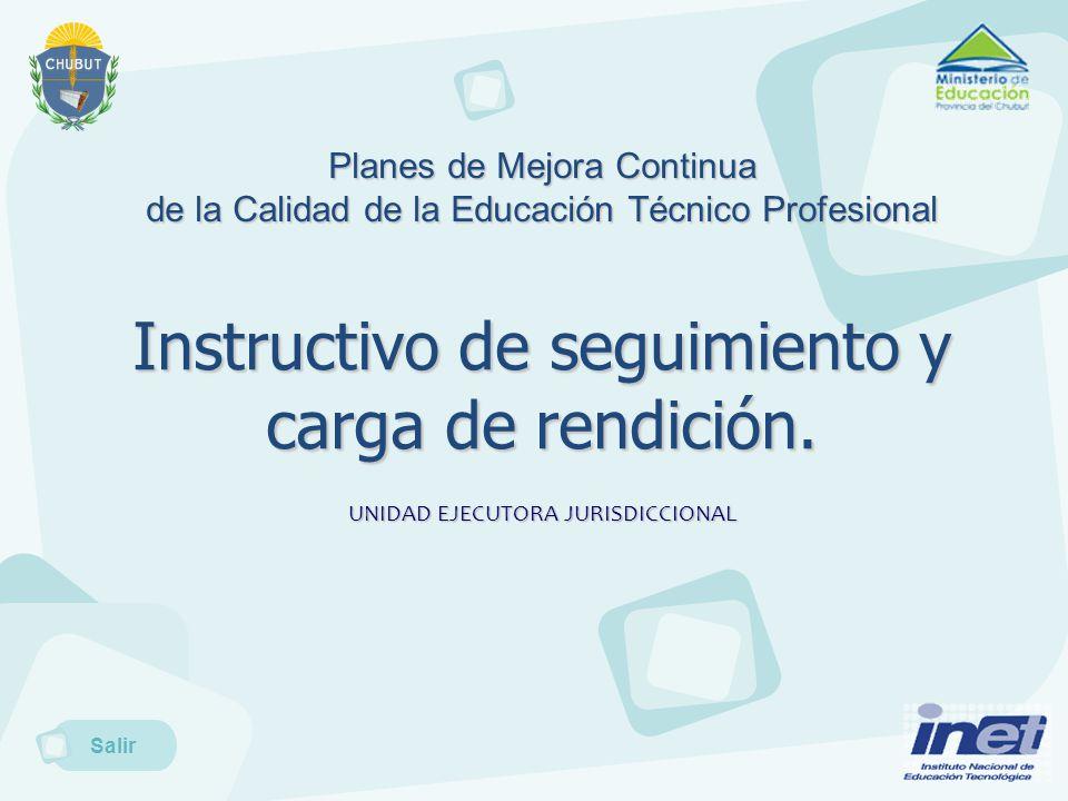 Planes de Mejora Continua de la Calidad de la Educación Técnico Profesional Instructivo de seguimiento y carga de rendición.
