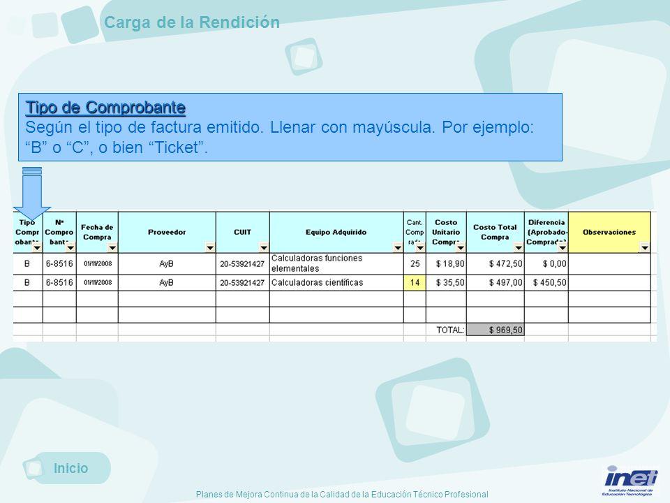 Planes de Mejora Continua de la Calidad de la Educación Técnico Profesional Tipo de Comprobante Según el tipo de factura emitido.