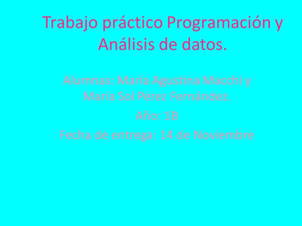 Trabajo práctico Programación y Análisis de datos.