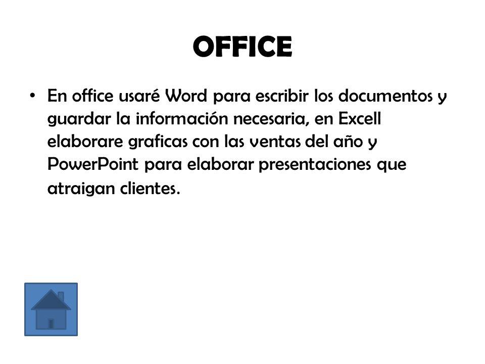 OFFICE En office usaré Word para escribir los documentos y guardar la información necesaria, en Excell elaborare graficas con las ventas del año y PowerPoint para elaborar presentaciones que atraigan clientes.