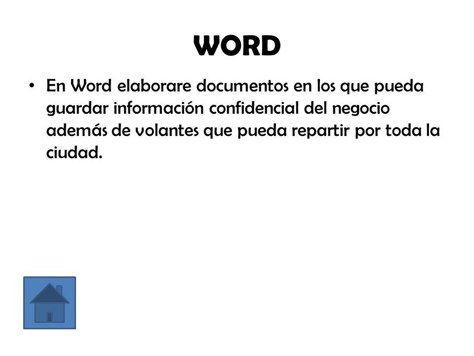 WORD En Word elaborare documentos en los que pueda guardar información confidencial del negocio además de volantes que pueda repartir por toda la ciudad.
