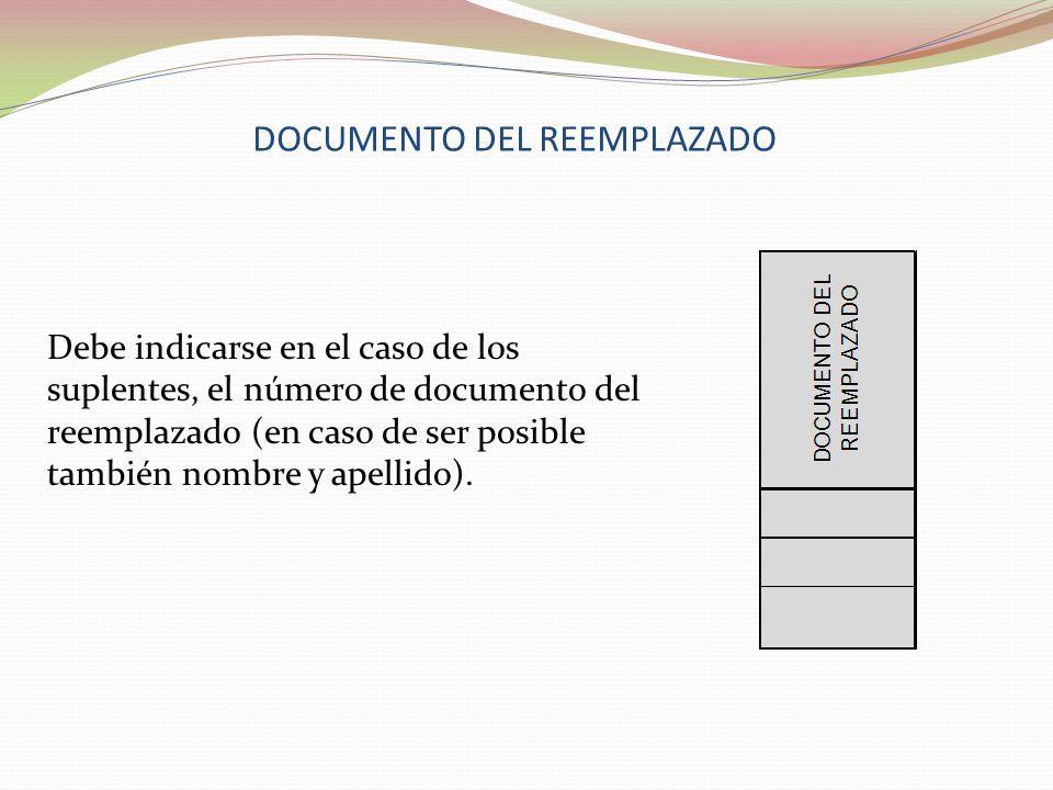 DOCUMENTO DEL REEMPLAZADO Debe indicarse en el caso de los suplentes, el número de documento del reemplazado (en caso de ser posible también nombre y apellido).