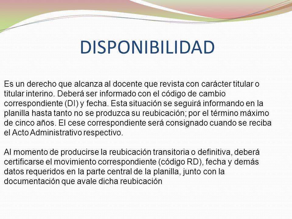 DISPONIBILIDAD Es un derecho que alcanza al docente que revista con carácter titular o titular interino.
