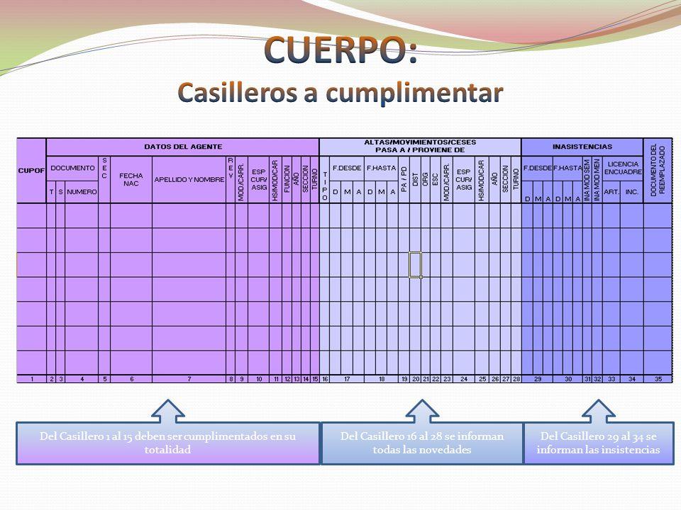Del Casillero 1 al 15 deben ser cumplimentados en su totalidad Del Casillero 16 al 28 se informan todas las novedades Del Casillero 29 al 34 se informan las insistencias