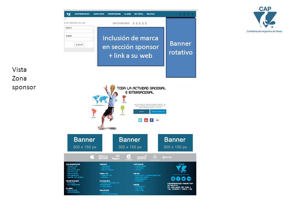 Vista Zona sponsor Inclusión de marca en sección sponsor + link a su web Banner rotativo