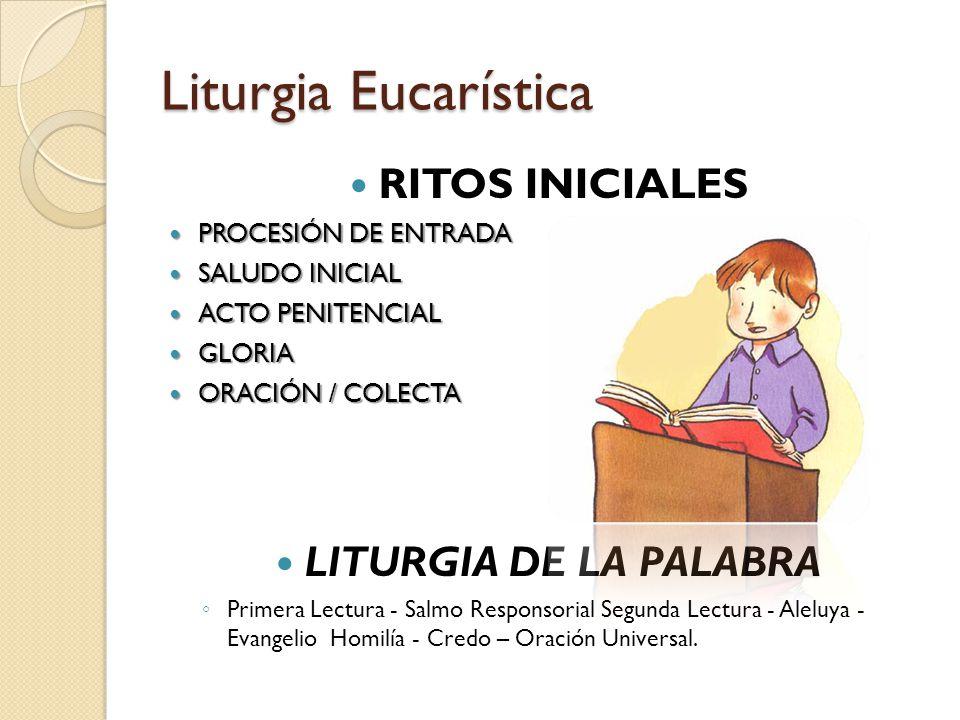Liturgia Eucarística RITOS INICIALES PROCESIÓN DE ENTRADA PROCESIÓN DE ENTRADA SALUDO INICIAL SALUDO INICIAL ACTO PENITENCIAL ACTO PENITENCIAL GLORIA GLORIA ORACIÓN / COLECTA ORACIÓN / COLECTA LITURGIA DE LA PALABRA ◦ Primera Lectura - Salmo Responsorial Segunda Lectura - Aleluya - Evangelio Homilía - Credo – Oración Universal.