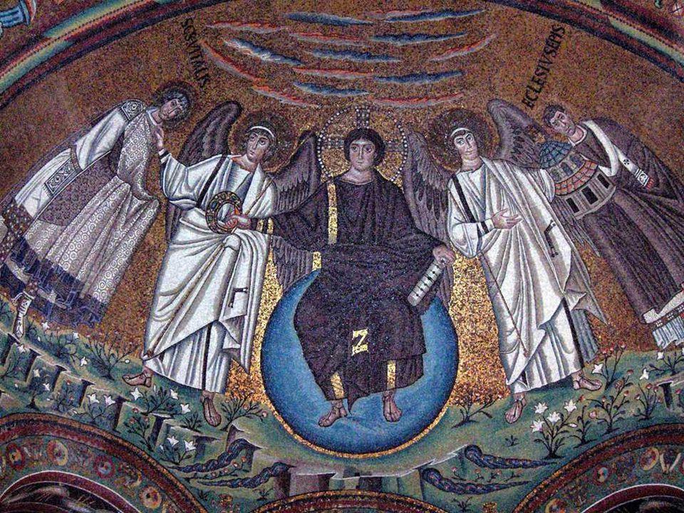 ICONOGRAFÍA Los bizantinos fijaron una iconografía oficial y adjudicaron un lugar en el templo para cada asunto sagrado: El ábside se reservó a Cristo en Majestad, que aparece sentado sobre el globo del universo (Cosmocrátor).
