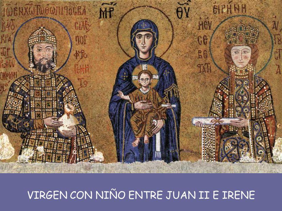 Sólo en algunas representaciones imperiales asociadas al culto de la divinidad, como las de Justiniano y Teodora en San Vital de Rávena , o las del emperador Juan II y la emperatriz Irene en Santa Sofía de Constantinopla , se entiende al hombre como individuo que vive en una época determinada.