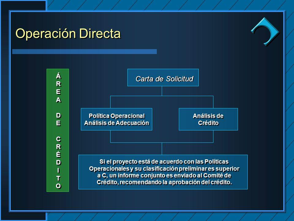 Clique para editar os estilos do texto mestre Segundo nível Terceiro nível Quarto nível Quinto nível Clique para editar os estilos do texto mestre Segundo nível Terceiro nível Quarto nível Quinto nível Clique para editar o estilo do título mestre ÁREADECRÉDITOÁREADECRÉDITO ÁREADECRÉDITOÁREADECRÉDITO Si el proyecto está de acuerdo con las Políticas Operacionales y su clasificación preliminar es superior a C, un informe conjunto es enviado al Comité de Crédito, recomendando la aprobación del crédito.