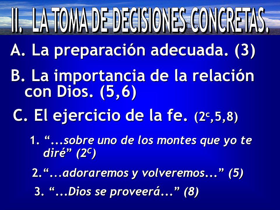 A. La preparación adecuada. (3) B. La importancia de la relación con Dios.