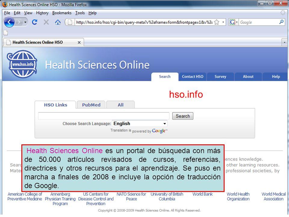Health Sciences Online es un portal de búsqueda con más de 50.000 artículos revisados de cursos, referencias, directrices y otros recursos para el aprendizaje.
