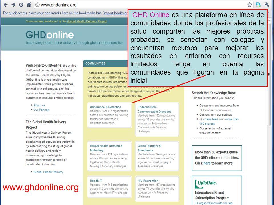 GHD Online es una plataforma en línea de comunidades donde los profesionales de la salud comparten las mejores prácticas probadas, se conectan con colegas y encuentran recursos para mejorar los resultados en entornos con recursos limitados.