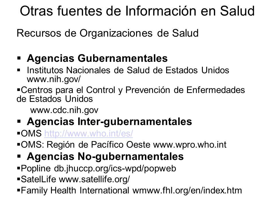 Recursos de Organizaciones de Salud  Agencias Gubernamentales  Institutos Nacionales de Salud de Estados Unidos www.nih.gov/  Centros para el Control y Prevención de Enfermedades de Estados Unidos www.cdc.nih.gov  Agencias Inter-gubernamentales  OMS http://www.who.int/es/http://www.who.int/es/  OMS: Región de Pacífico Oeste www.wpro.who.int  Agencias No-gubernamentales  Popline db.jhuccp.org/ics-wpd/popweb  SatelLife www.satellife.org/  Family Health International wmww.fhl.org/en/index.htm Otras fuentes de Información en Salud
