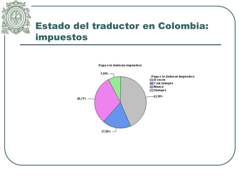 Estado del traductor en Colombia: impuestos