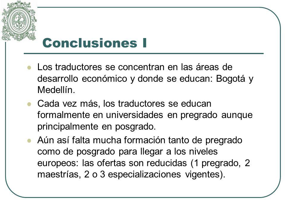 Conclusiones I Los traductores se concentran en las áreas de desarrollo económico y donde se educan: Bogotá y Medellín.