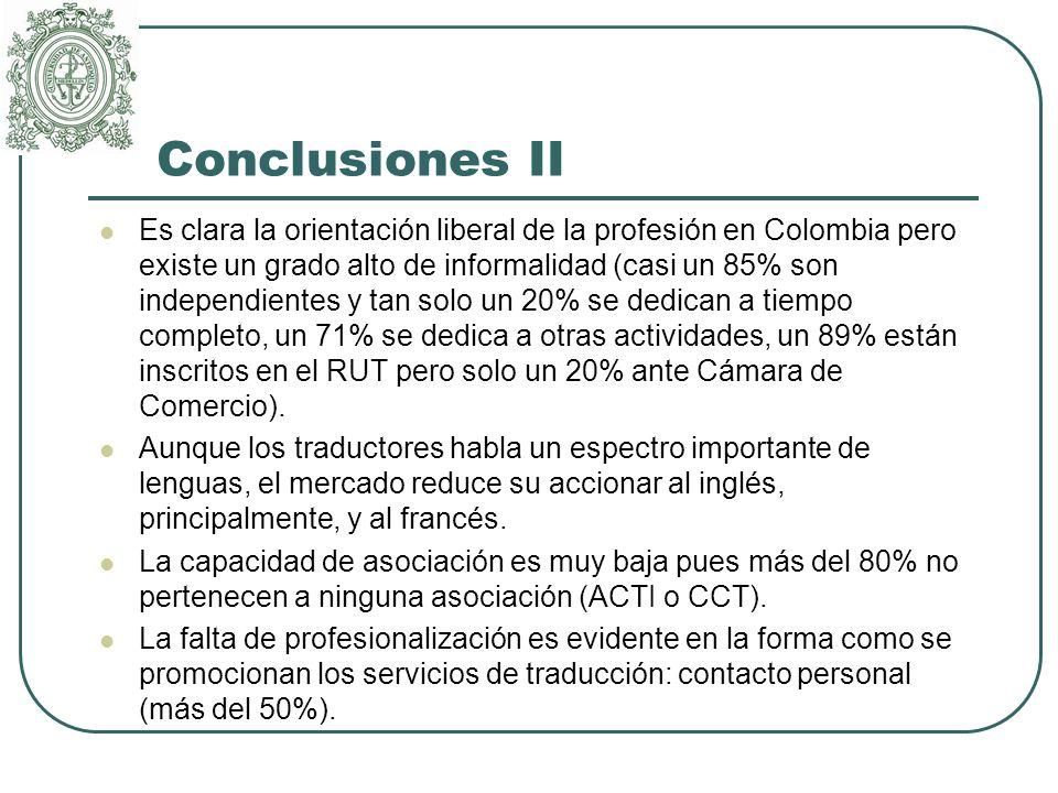 Conclusiones II Es clara la orientación liberal de la profesión en Colombia pero existe un grado alto de informalidad (casi un 85% son independientes y tan solo un 20% se dedican a tiempo completo, un 71% se dedica a otras actividades, un 89% están inscritos en el RUT pero solo un 20% ante Cámara de Comercio).