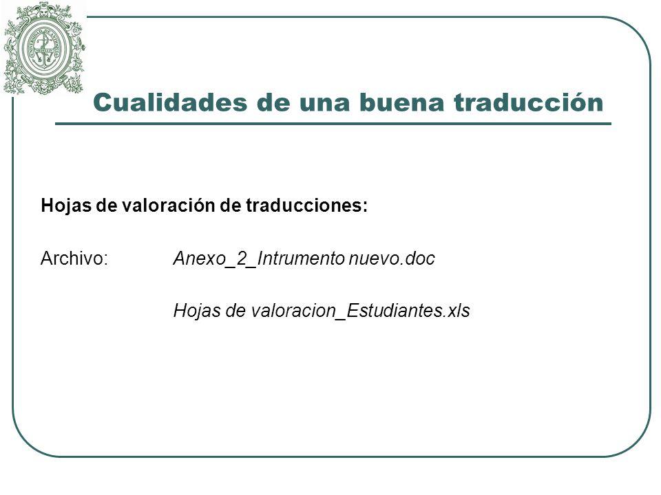 Cualidades de una buena traducción Hojas de valoración de traducciones: Archivo: Anexo_2_Intrumento nuevo.doc Hojas de valoracion_Estudiantes.xls