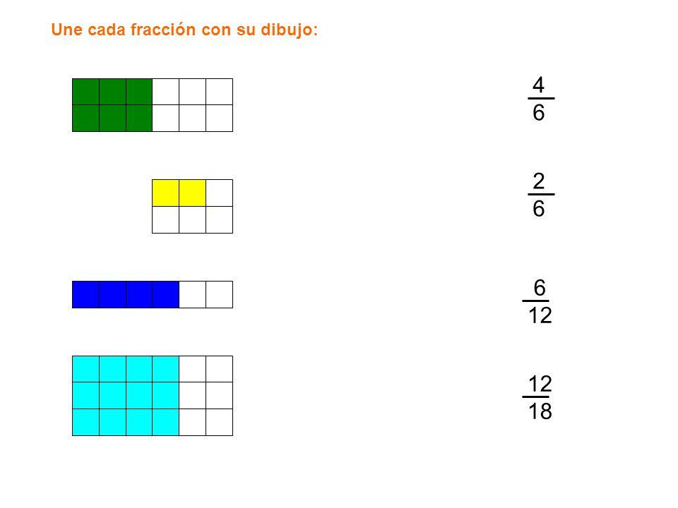 Une cada fracción con su dibujo: 4646 2626 6 12 18