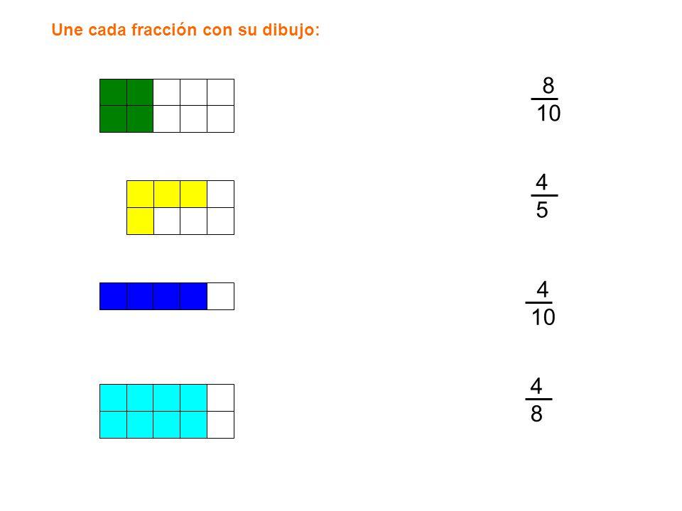 Une cada fracción con su dibujo: 8 10 4545 4 10 4848