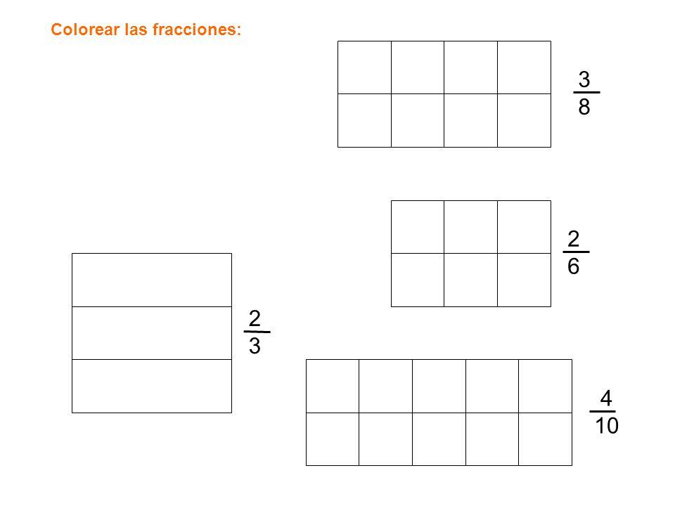 3838 2323 2626 4 10 Colorear las fracciones: