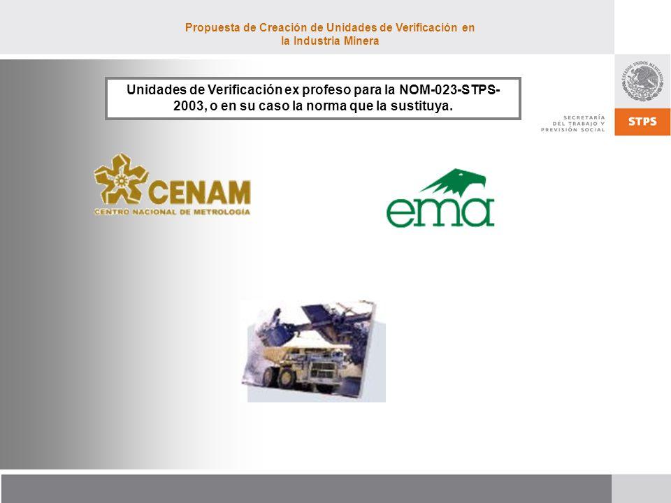 Propuesta de Creación de Unidades de Verificación en la Industria Minera Unidades de Verificación ex profeso para la NOM-023-STPS- 2003, o en su caso la norma que la sustituya.