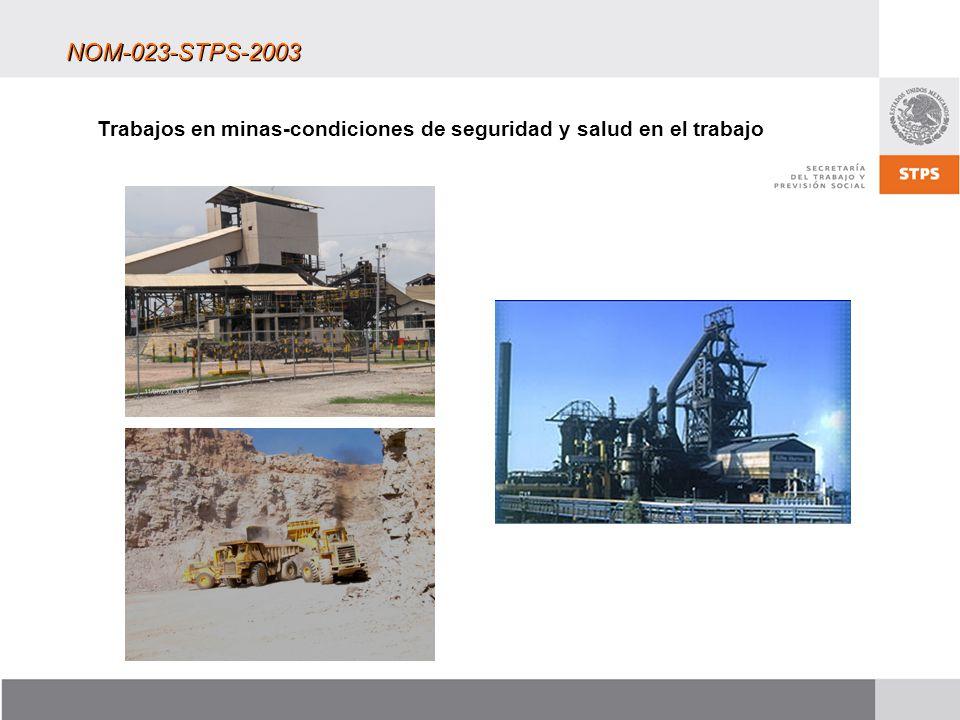 NOM-023-STPS-2003 Trabajos en minas-condiciones de seguridad y salud en el trabajo