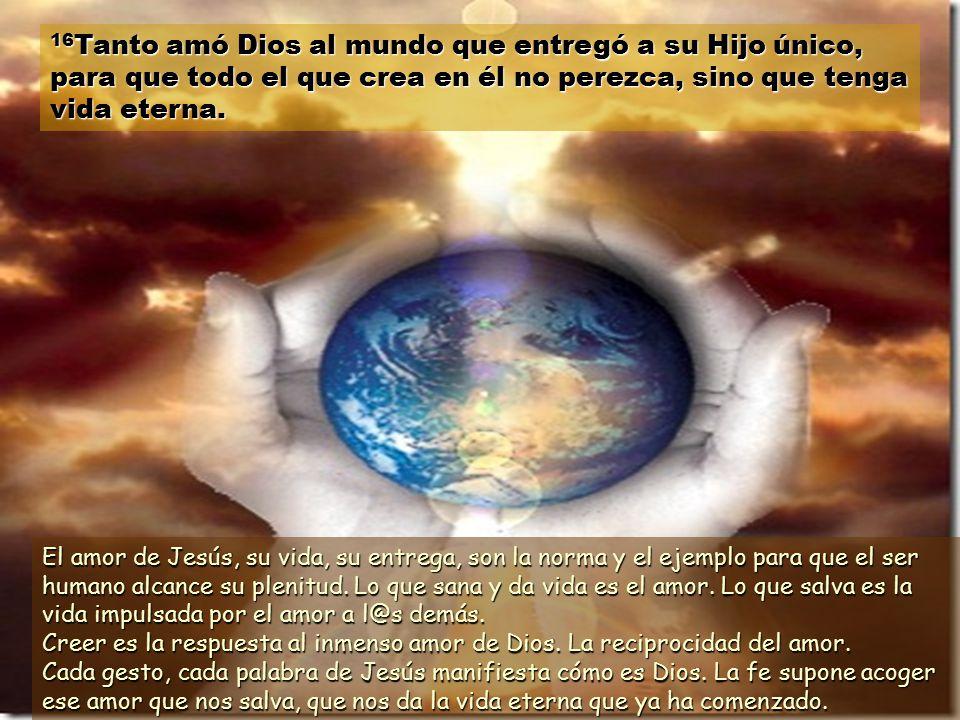 14 Lo mismo que Moisés levantó la serpiente de bronce en el desierto, el Hijo del hombre tiene que ser levantado en alto, 5 para que todo el que crea en él tenga vida eterna.