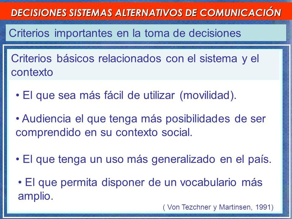 Criterios importantes en la toma de decisiones DECISIONES SISTEMAS ALTERNATIVOS DE COMUNICACIÓN ( Von Tezchner y Martinsen, 1991) El que tenga un uso más generalizado en el país.