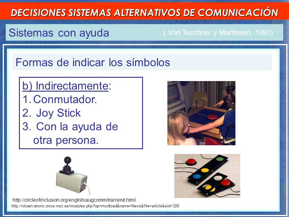 Sistemas con ayuda DECISIONES SISTEMAS ALTERNATIVOS DE COMUNICACIÓN Formas de indicar los símbolos ( Von Tezchner y Martinsen, 1991) http://observatorio.cnice.mec.es/modules.php op=modload&name=News&file=article&sid=328 b) Indirectamente: 1.Conmutador.