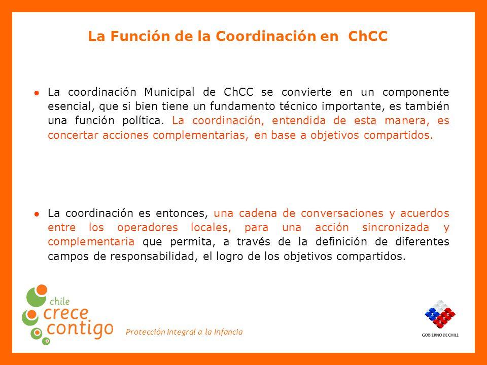 Protección Integral a la Infancia ● La coordinación Municipal de ChCC se convierte en un componente esencial, que si bien tiene un fundamento técnico importante, es también una función política.