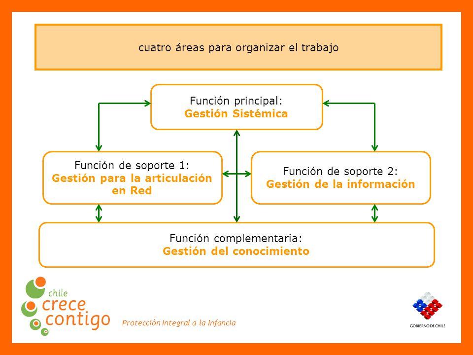 Protección Integral a la Infancia cuatro áreas para organizar el trabajo Función principal: Gestión Sistémica Función de soporte 1: Gestión para la articulación en Red Función de soporte 2: Gestión de la información Función complementaria: Gestión del conocimiento
