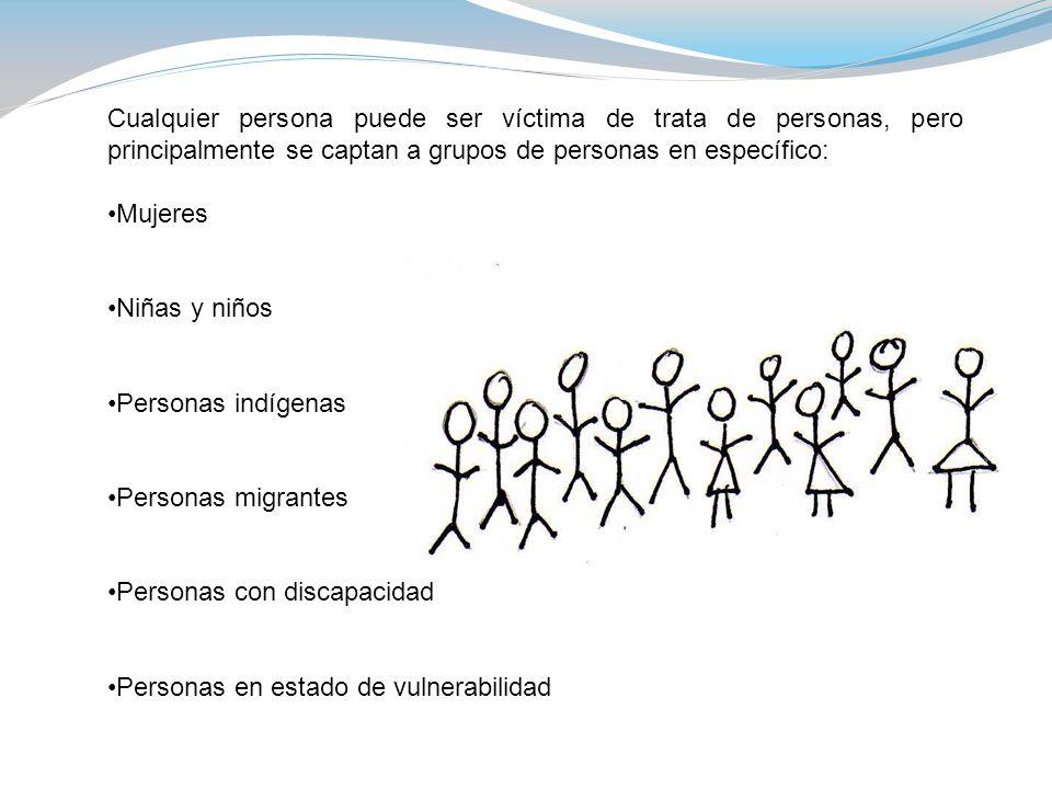 Cualquier persona puede ser víctima de trata de personas, pero principalmente se captan a grupos de personas en específico: Mujeres Niñas y niños Personas indígenas Personas migrantes Personas con discapacidad Personas en estado de vulnerabilidad