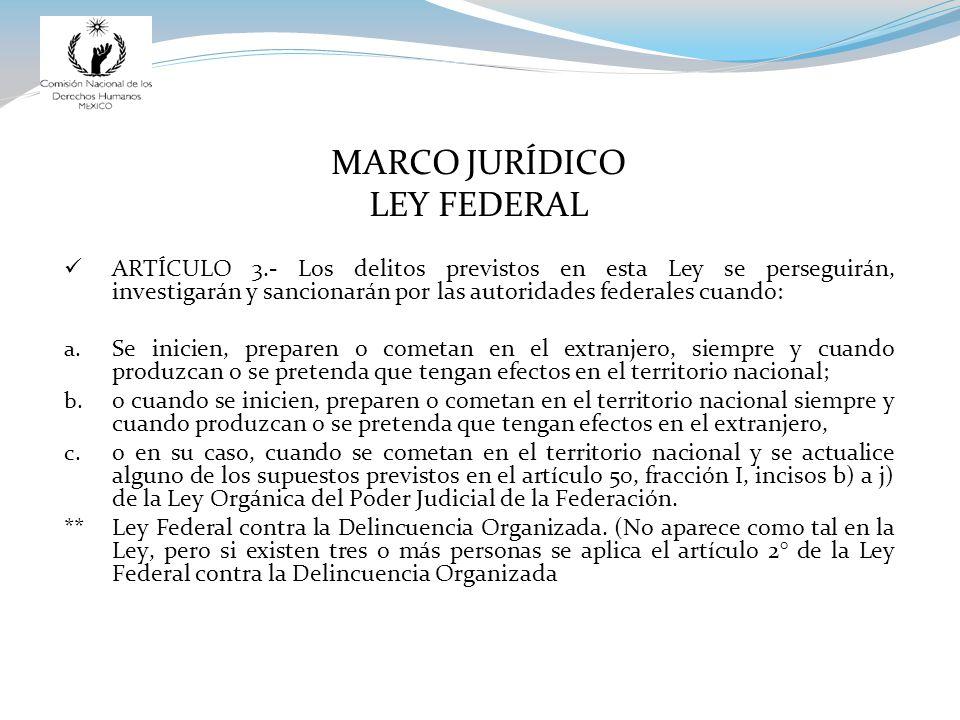 MARCO JURÍDICO LEY FEDERAL ARTÍCULO 3.- Los delitos previstos en esta Ley se perseguirán, investigarán y sancionarán por las autoridades federales cuando: a.