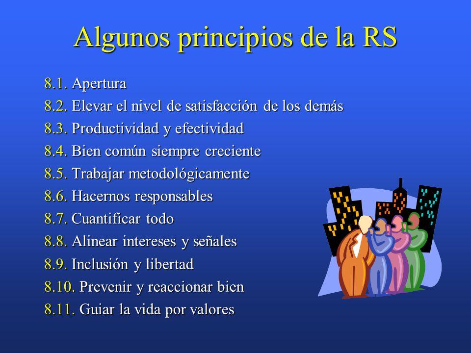 Algunos principios de la RS 8.1. Apertura 8.2. Elevar el nivel de satisfacción de los demás 8.3.