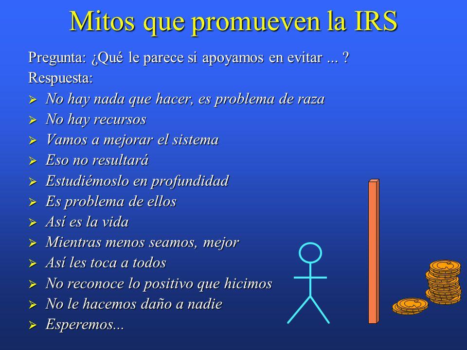 Mitos que promueven la IRS Pregunta: ¿Qué le parece si apoyamos en evitar...