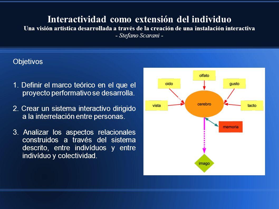 Interactividad como extensión del individuo Una visión artística desarrollada a través de la creación de una instalación interactiva - Stefano Scarani - Objetivos 1.