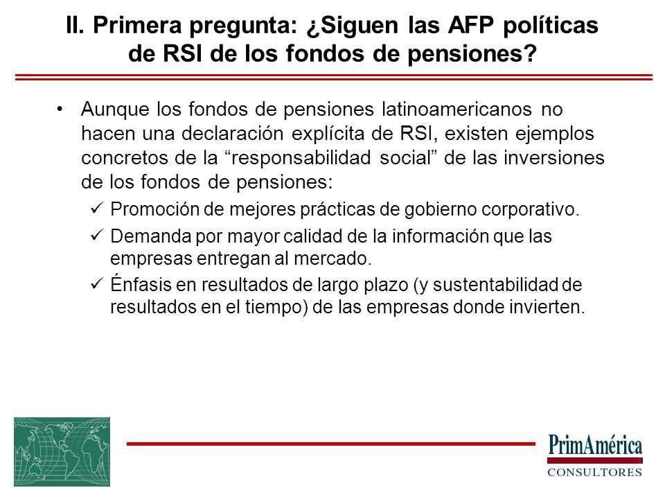 Aunque los fondos de pensiones latinoamericanos no hacen una declaración explícita de RSI, existen ejemplos concretos de la responsabilidad social de las inversiones de los fondos de pensiones: Promoción de mejores prácticas de gobierno corporativo.