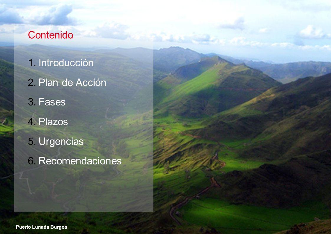 Contenido 1.Introducción 2.Plan de Acción 3.Fases 4.Plazos 5.Urgencias 6.Recomendaciones Puerto Lunada Burgos