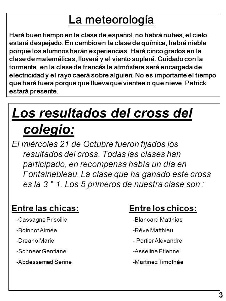 Los resultados del cross del colegio: El miércoles 21 de Octubre fueron fijados los resultados del cross.