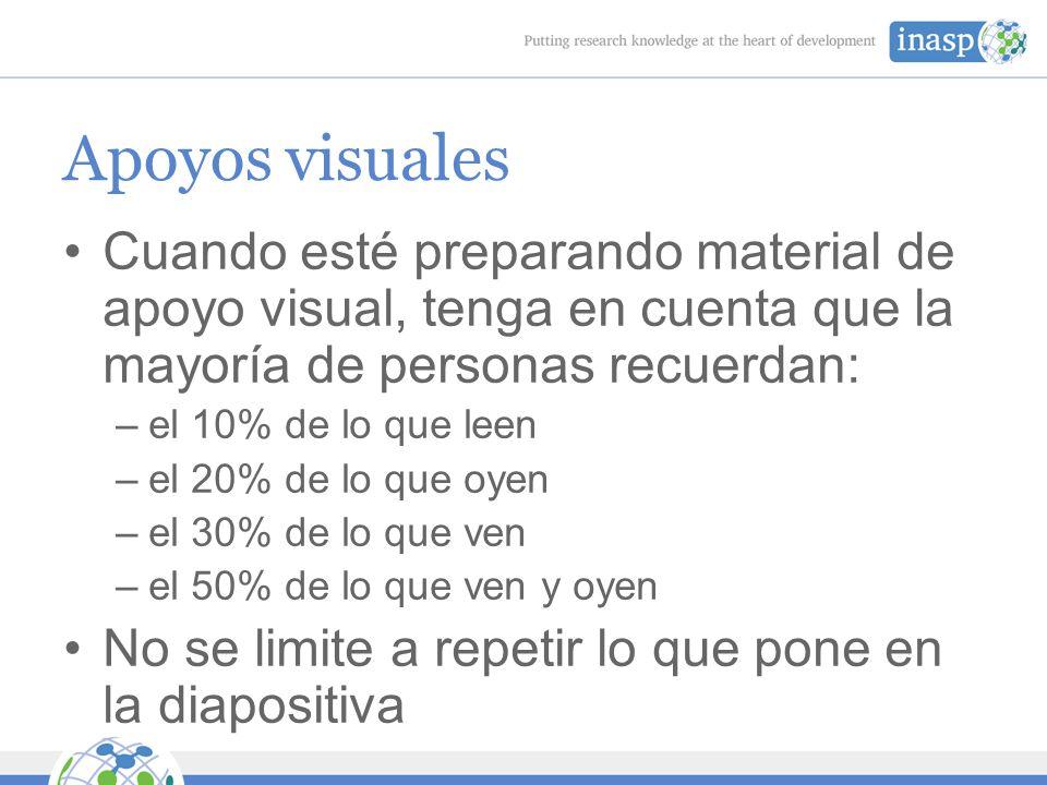 Apoyos visuales Cuando esté preparando material de apoyo visual, tenga en cuenta que la mayoría de personas recuerdan: –el 10% de lo que leen –el 20% de lo que oyen –el 30% de lo que ven –el 50% de lo que ven y oyen No se limite a repetir lo que pone en la diapositiva