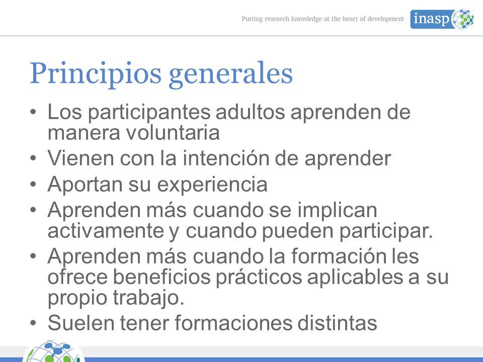 Principios generales Los participantes adultos aprenden de manera voluntaria Vienen con la intención de aprender Aportan su experiencia Aprenden más cuando se implican activamente y cuando pueden participar.