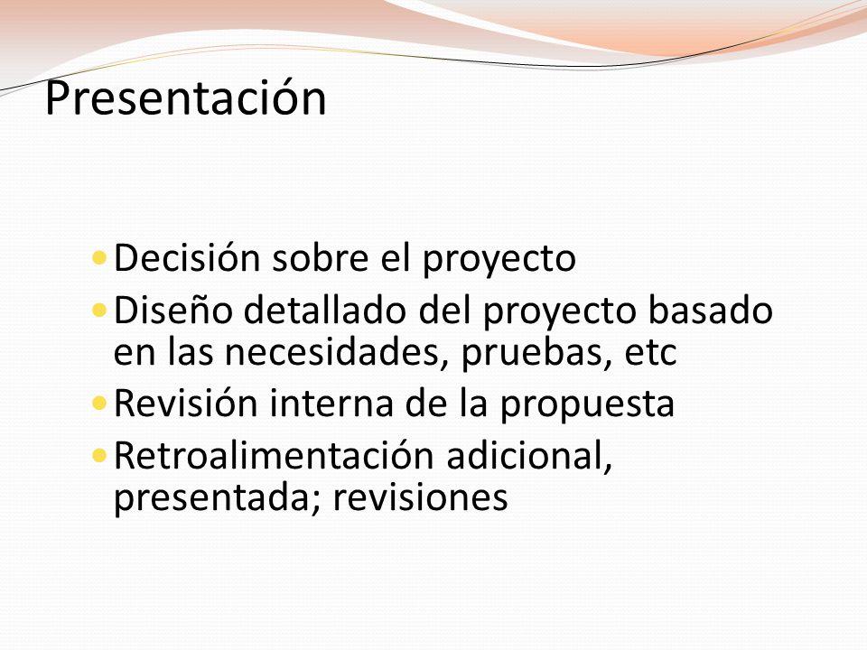 Presentación Decisión sobre el proyecto Diseño detallado del proyecto basado en las necesidades, pruebas, etc Revisión interna de la propuesta Retroalimentación adicional, presentada; revisiones