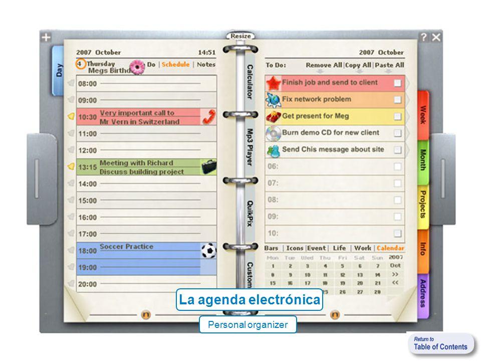 La agenda electrónica Personal organizer